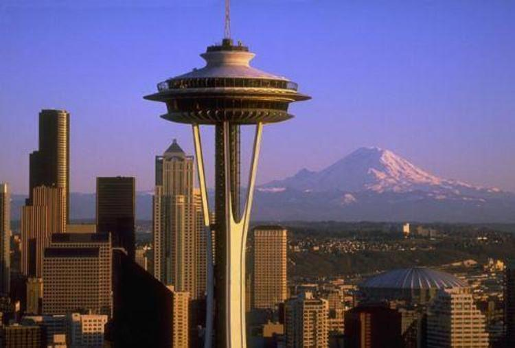 Seattle - Space Needle and Mt. Rainier